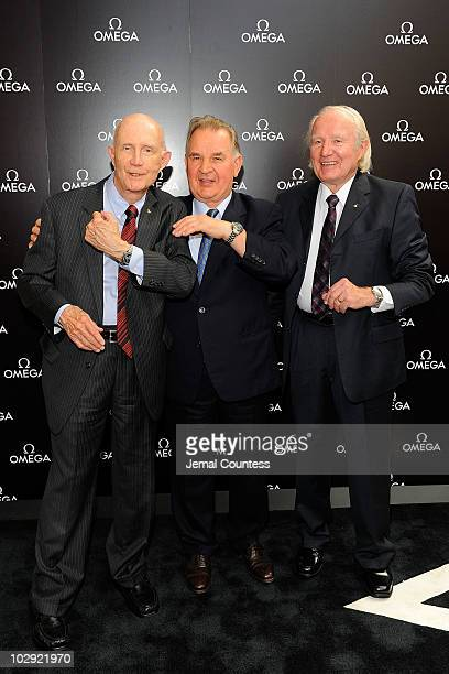 Legendary astronaut Lt General Thomas Stafford cosmonaut Valery Kubasov and astronaut Vance Brand attend the 35th anniversary of the Apollo Soyuz at...