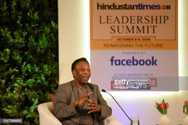 Legendary Brazilian footballer Pele during a first day of Hindustan Times Leadership Summit 2018 at Taj Palace on October 5 2018 in New Delhi India