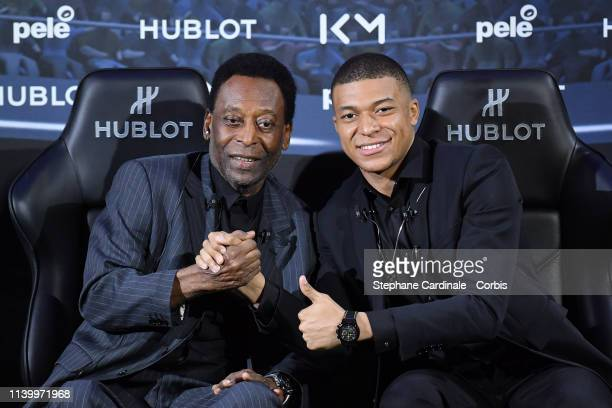 Legendary Brazilian former soccer player Pele and Kylian Mbappe of Paris Saint Germain attend a press conference at Hotel Lutetia on April 02 2019 in...