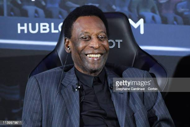 Legendary Brazilian former soccer player Pele attends a press conference at Hotel Lutetia on April 02 2019 in Paris France