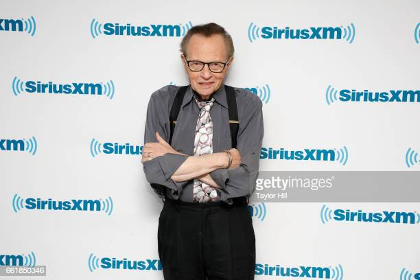 Legendary broadcaster Larry King visits the SiriusXM Studios for 'A Conversation with Larry King hosted by John Fugelsang' at SiriusXM Studios on...