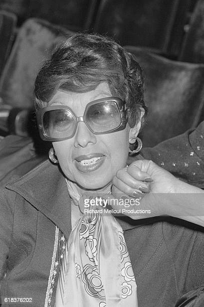 Legendary cabaret performer Josephine Baker attends the opening night of Fiesta The operetta written by Francis Lopez was performed at the Theatre...