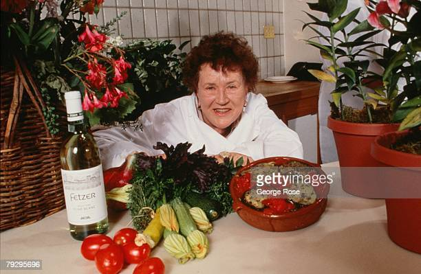 Legendary chef cookbook author and television star Julia Child poses during a 1990 Hopland California photo portrait session