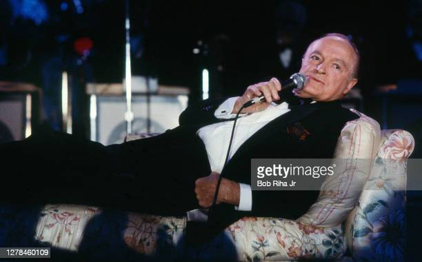 Legendary comedian Bob Hope during performance at 'Victory Night 1984', a Republication gathering of dignitaries and celebrities, some flown to event...