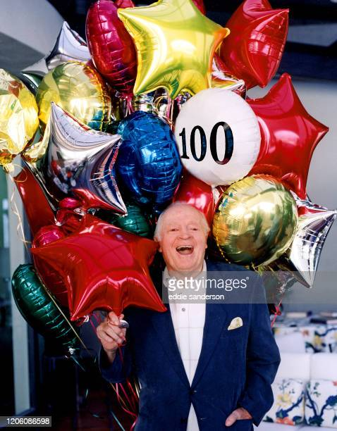Legendary comedian Bob Hope with balloons to celebrate his 100th birthday on May 29th 2003 at his home in Palm Springs California