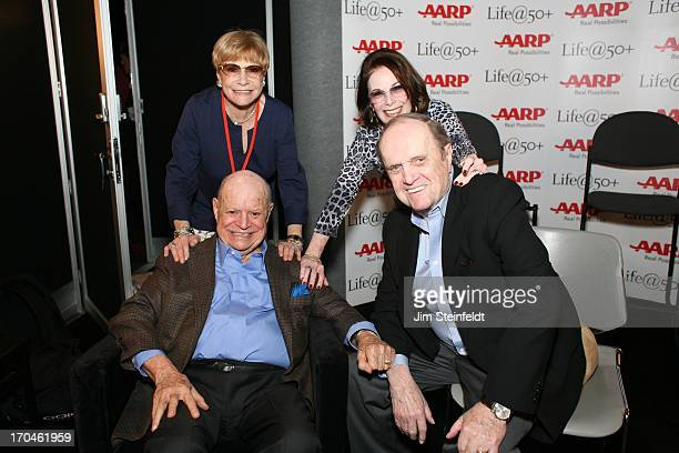 Legendary comedians and their wives Don Rickles Barbara Rickles Ginnie Newhart and Bob Newhart pose for a portrait backstage at the Las Vegas...