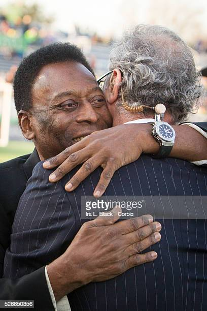 Legendary Cosmos and Brazil player Pele hugs his old friend Shep Messing prior to the Soccer 2015 NASL NY Cosmos vs Tampa Bay Rowdies on April 18...