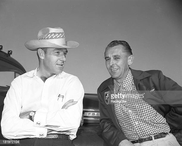 Legendary drivers Curtis Turner and Johnny Mantz before a NASCAR Cup race at MemphisArkansas Speedway Neither fared well in the event as both dropped...