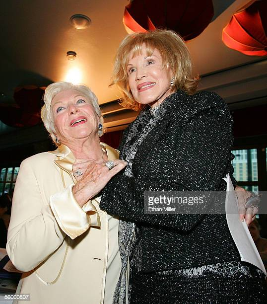 Legendary French entertainer Line Renaud hugs singer Phyllis McGuire after she spoke at her Las Vegas Walk of Stars dedication ceremony at the Paris...