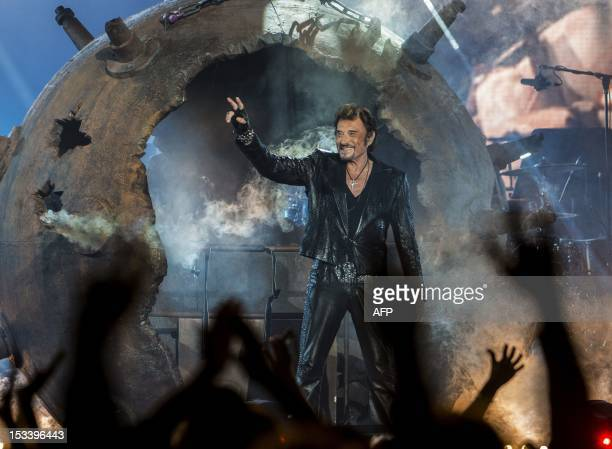 Legendary French singer Johnny Hallyday performs in concert at the Bell Center as part of his Canadian tour October 4 2012 in Montreal Quebec Canada...
