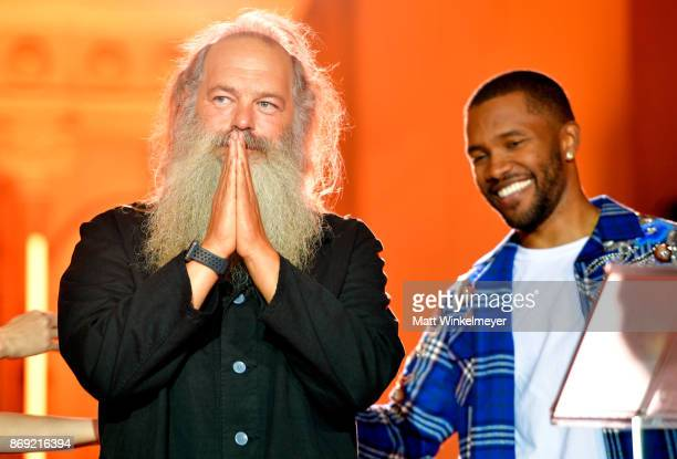 Legendary Genius Award winner Rick Rubin and Frank Ocean speak onstage at Spotify's Inaugural Secret Genius Awards hosted by Lizzo at Vibiana on...