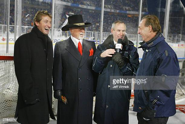 Legendary hockey players Wayne Gretzky and Guy Lafleur chat with hockey analysts Don Cherry and Ron MacLean of Hockey Night in Canada before the game...