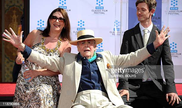 Legendary Irish actor Peter O'Toole attends his hand and footprints ceremony with his daugther Kate O'Toole and his son Lorcan O'Toole in front of...