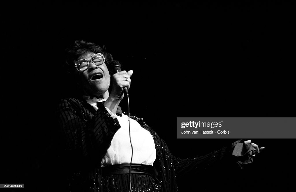 Legendary jazz vocalist Ella Fitzgerald sings in a 1984 concert at the Palais des Congres in Paris, France.