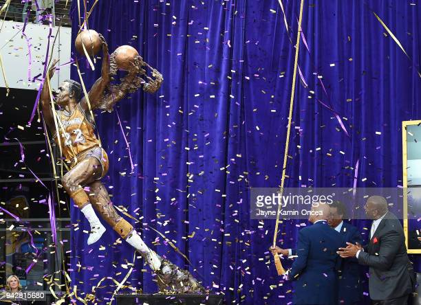 Legendary Los Angeles Lakers and NBA Hall of Fame player Elgin Baylor looks on at the unveiling of his bronze statue in Star Plaza at Staples Center...
