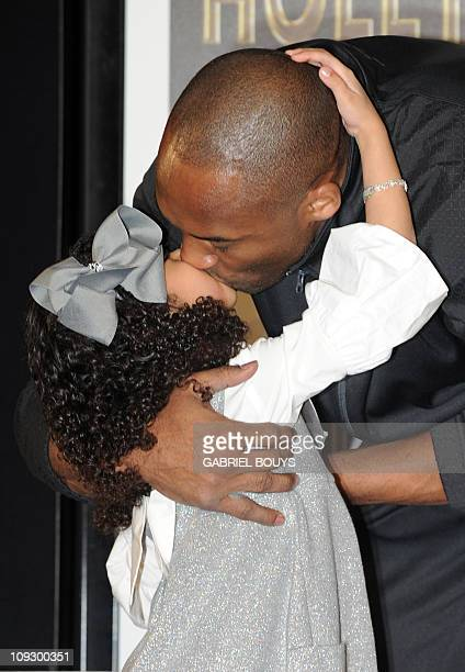 Legendary Los Angeles Lakers' shooting guard Kobe Bryant and daughter Natalia Gianna MariaOnore attend his hand and footprint ceremony at the...