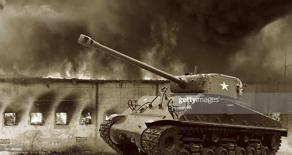 Legendary M4 Sherman Tank in Action : Stock Photo