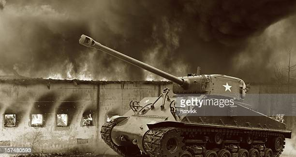 legendary m4 sherman tank in action - armored tank stock photos and pictures