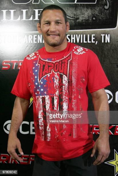 Legendary MMA Superstar and two time Olympic Wrestler Dan Henderson attends the CBS' Strikeforce MMA Fighters Open Media Workout on March 17, 2010 in...