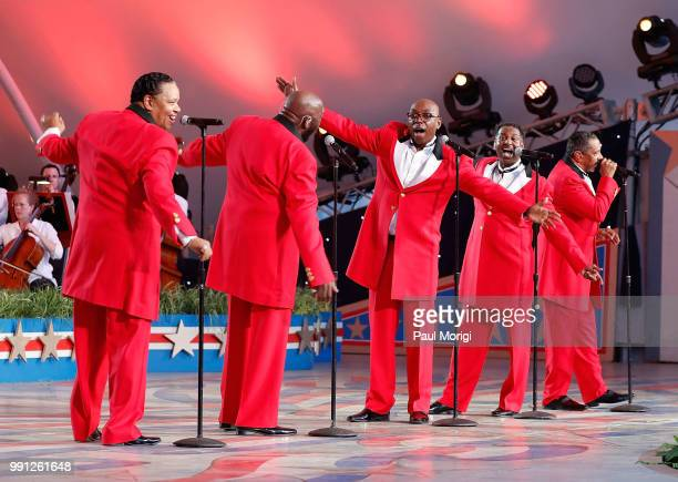 Legendary Motown stars The Temptations perform at the 2018 A Capitol Fourth rehearsals at US Capitol West Lawn on July 3 2018 in Washington DC
