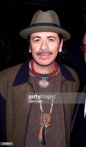 Legendary musician Carlos Santana attends the preGrammy Awards party in Los Angeles on February 23 2000 The singerguitarist who played at the...