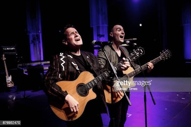 Legendary musician Johnny Clegg and his son Jess perform together ahead of the Final Journey Tour show at the Dome on November 11 2017 in...