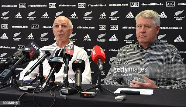 Legendary New Zealand sevens coach Gordon Tietjens announces his retirement as New Zealand Rugby Union CEO Steve Tew listens in Wellington on...
