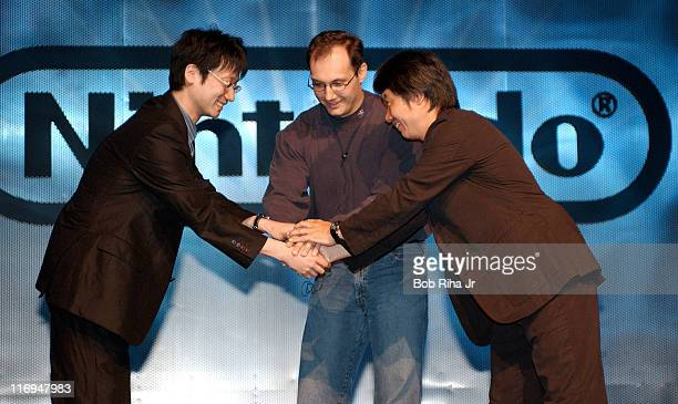 Legendary Nintendo video game designer Shigeru Miyamoto welcomes Hideo Kojima from Konomi creator of 'Metal Gear Solid' and Denis Dyack to the stage...