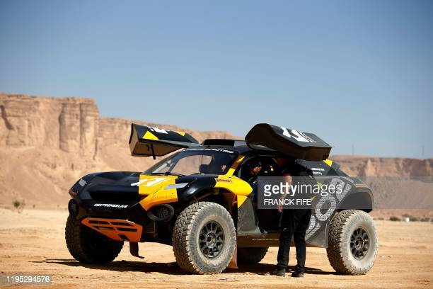 Legendary off-road racer and YouTube star Ken Block prepares to take the wheel of Extreme Es E-SUV to take part in the Grand Prix of Qiddiya finale...