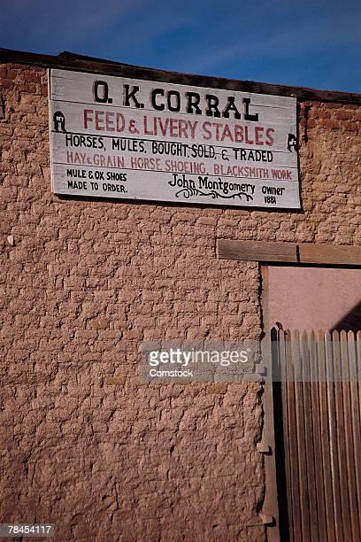 legendary o.k. corral in tombstone, arizona - tombstone arizona stock pictures, royalty-free photos & images