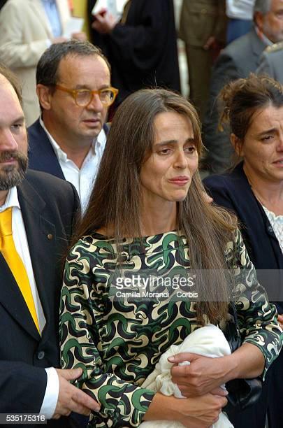 Legendary opera tenor Luciano Pavarotti's daughter Cristina Pavarotti cries at his funeral service held in Modena's Dome