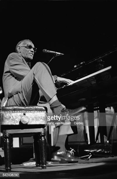 Legendary pianist Ray Charles performs in a 1984 concert at the Palais des Congres in Paris, France.