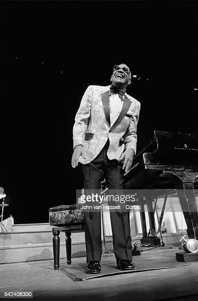 Legendary pianist Ray Charles performs in a 1984 concert at the Palais des Congres in Paris France