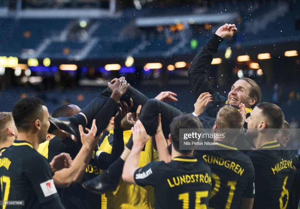 Legendary player Nils Eric Johansson is thanked off during the Allsvenskan match between AIK and Dalkurd FF at Friends Arena on april 2, 2018 in Solna, Sweden.