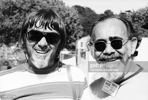 Legendary producers and arrangers Tom Dowd and Jerry Wexler pose for a portait at the Newport Jazz Festival in July 1971 in Newport, Rhode Island.