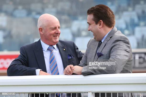 Legendary race caller Greg Miles who will call his final race meeting at Caulfield on Saturday and fellow race caller Matthew Hill talk together at...