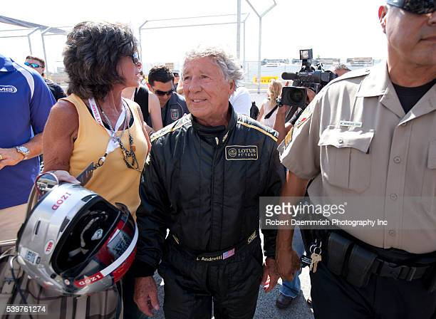 Legendary race car driver Mario Andretti after taking the first lap in a Formula One car on the new Circuit of the Americas track outside Austin on...