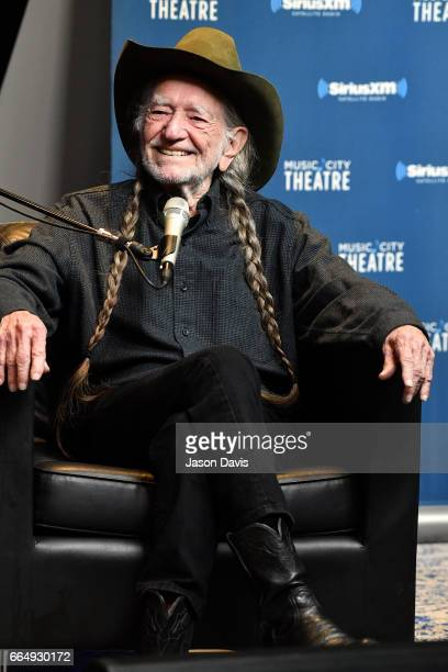 Legendary Recording Artist Willie Nelson speaks onstage at his album premier on April 4 2017 in Nashville Tennessee