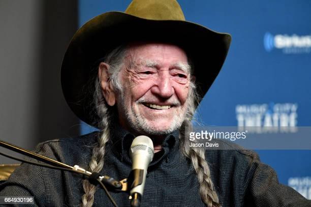 Legendary Recording Artist Willie Nelson speaks onstage at his album premier on April 4 2017 in Nashville Tennessee