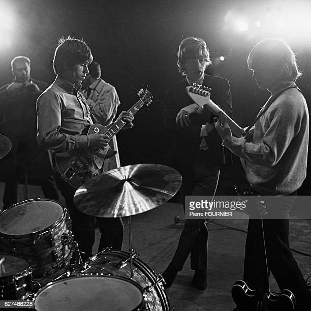 Legendary rock band The Rolling Stones warm up during rehearsals at the Olympia music hall