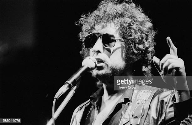 Legendary rock musician and songwriter Bob Dylan performs during a concert at the YvesduManoir Sports Stadium He is on tour to promote his new album...