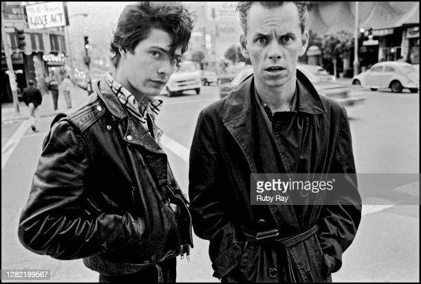 Legendary Screamers punk band stand on a Broadway corner in North Beach, across the street from legendary Enrico's. Keyboards Paul Roessler and...
