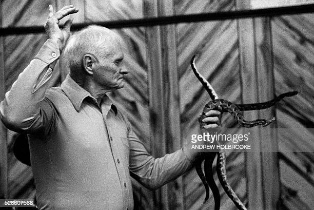 Legendary snake handler Dewey Chafin holding rattlesnakes during a service at the Church of the Lord Jesus in Jolo West Virginia Also known as...
