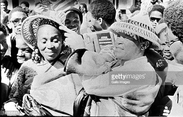 Legendary South African singer Miriam Makeba with fellow musician and exhusband Hugh Masekela