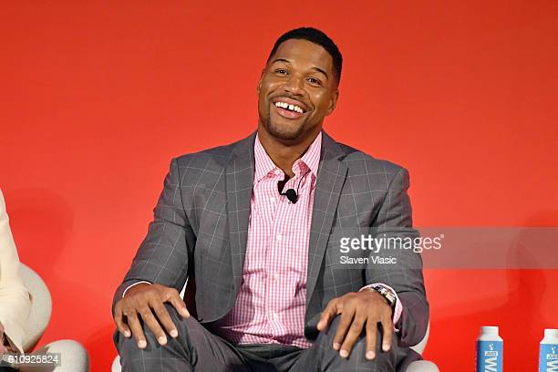 Legendary Super Bowl Champion Emmynominated Fox NFL Sunday Analyst Michael Strahan speaks onstage at the Fox NFL Town Hall panel at The Town Hall...