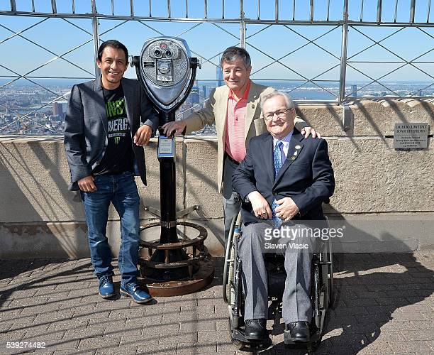 Legendary Triple Crownwinning jockers Victor Espinoza Jean Cruguet and Ron Turcotte visit The Empire State Building in celebration of the 148th...