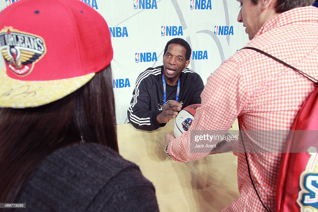 Legends A.C. Green signs an autograph for a fan during the 2014 NBA All-Star Jam Session at the Ernest N. Morial Convention Center on February 15, 2014 in New Orleans, Louisiana