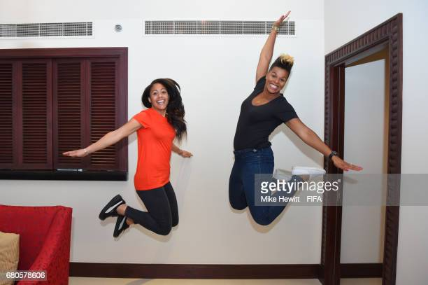 Legends Alex Scott of England and Karina LeBlanc of Canada jump for joy in the Diplomat Radisson BLU hotel ahead of the 67th FIFA Congress on May 9...