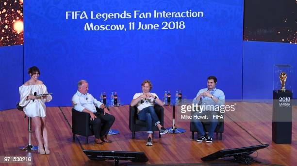 Legends Andrea Brehme Valery Karpin of Russia and Iker Casillas of Spain take part in a FIFA Legends Fan Interaction Event at the Moscow University...