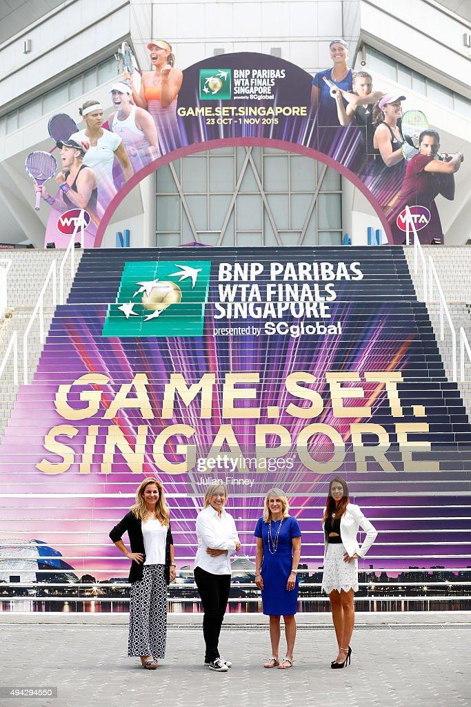 Legends Arantxa Sanchez-Vicarioi, Martina Navratilova, Tracy Austin and Marion Bartoli pose for a photo during the BNP Paribas WTA Finals at Singapore Sports Hub on October 26, 2015 in Singapore.
